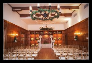 Interior of The Board Room with chairs set up for a wedding ceremony