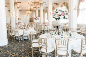 Interior of Candlelight Ballroom all white decor