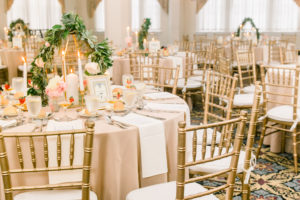 Candlelight Ballroom, table set up in gold