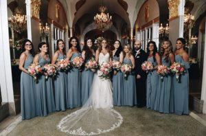 Bridal party, bridesmaids in green