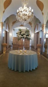 Table setup in the hall of mirrors; floral