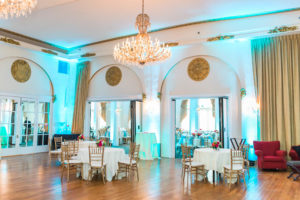 Interior of crystal ballroom; teal and pink decor