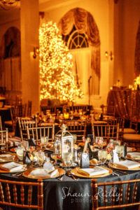 Christmas themed interior; candlelight ballroom